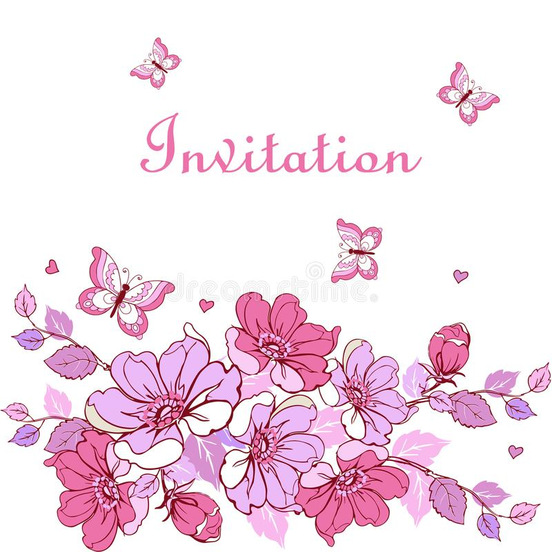 Fleurs de carte postale de vintage, papillons, coeurs Peut être employé pour c illustration de vecteur