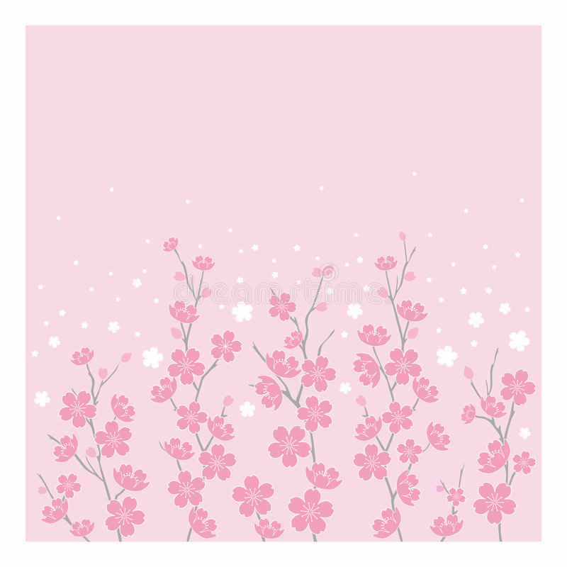 Fleurs de cerise - horizontales illustration de vecteur