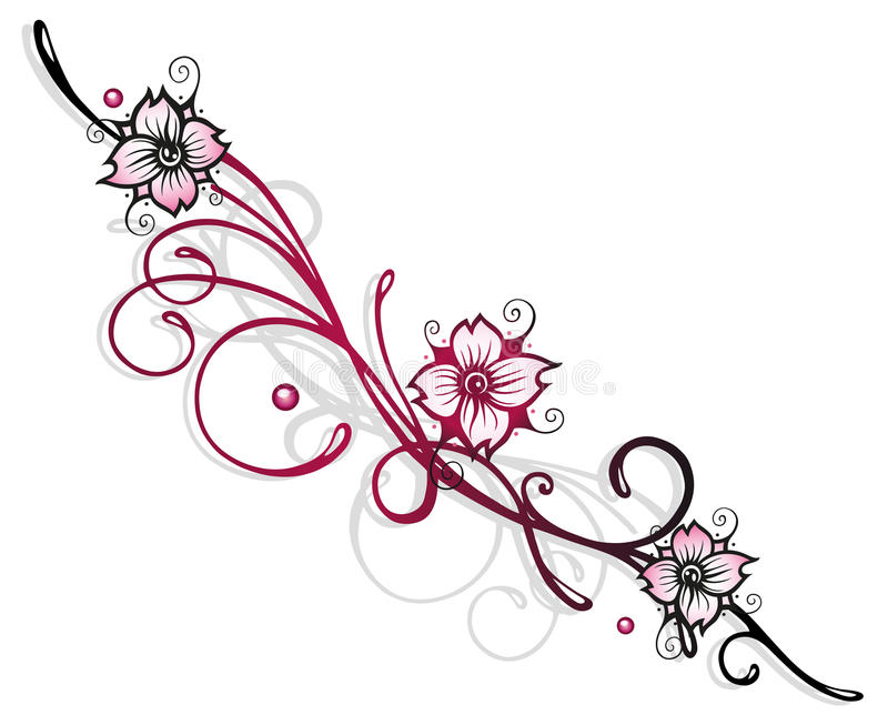 Fleurs de cerisier photo stock image du dessin isolement - Cerisier en fleur dessin ...