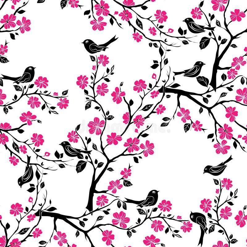 Download Fleurs De Cerisier De Brindille Seamless Illustration Stock - Illustration du centrale, collage: 56476079