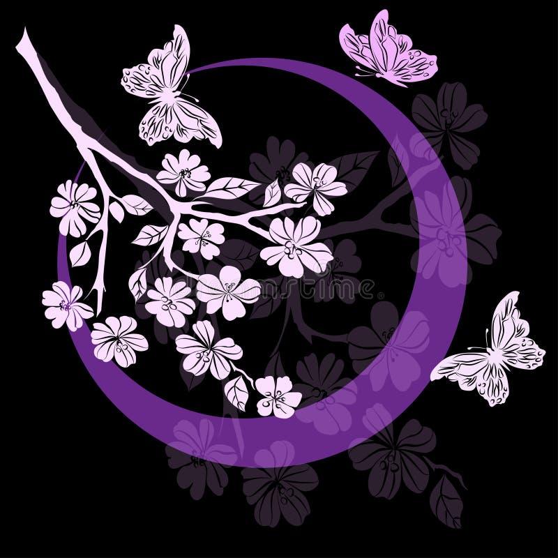 Fleurs de cerisier et papillon de brindille illustration stock
