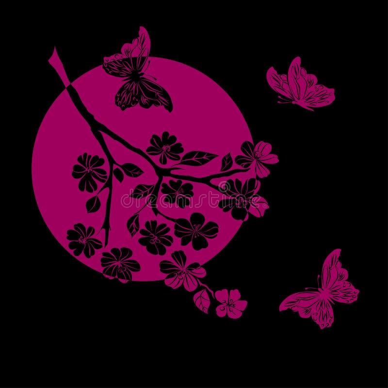 Download Fleurs De Cerisier Et Papillon De Brindille Illustration Stock - Illustration du ramassage, nature: 56479325