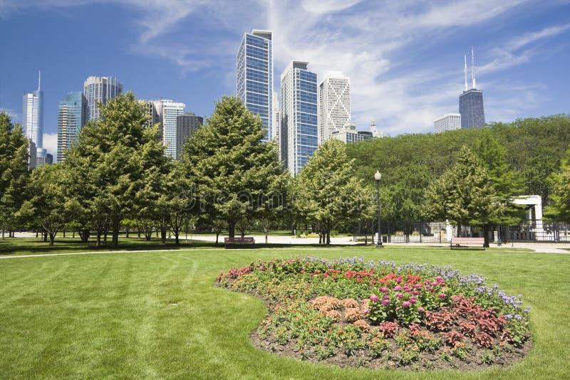 fleurs de Chicago au centre ville image stock