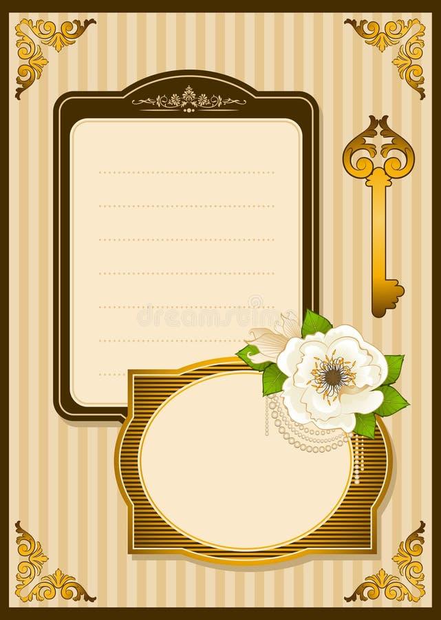 Fleurs de cru avec des ornements de lacet illustration stock