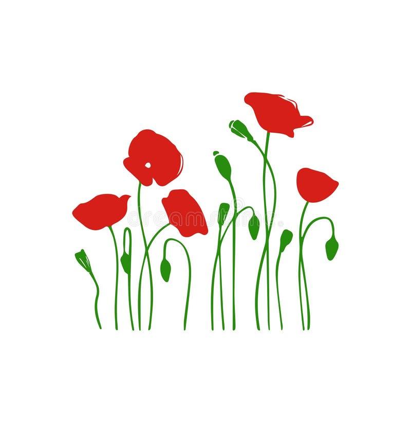 Fleurs de frontières Silchouette rouge de fleurs de vecteur de champ Fond floral illustration stock