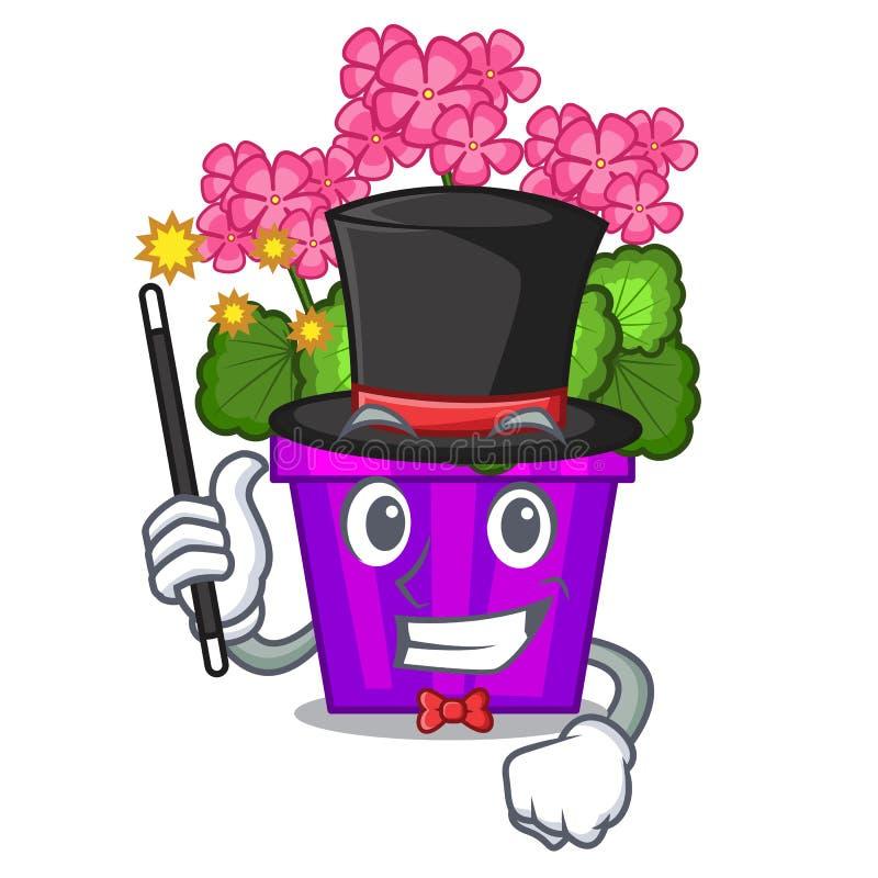 Fleurs de géranium de magicien dans la forme de bande dessinée illustration de vecteur