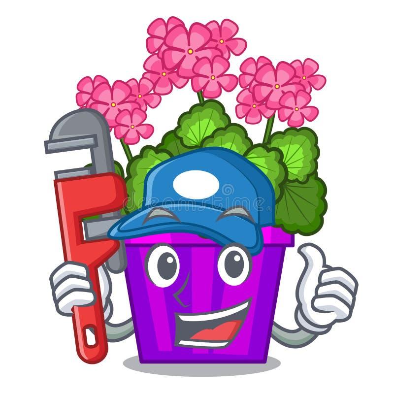 Fleurs de géranium de plombier dans la forme de bande dessinée illustration de vecteur