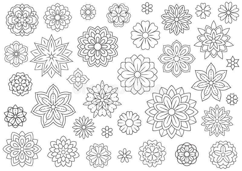 Fleurs de griffonnage d'ensemble pour livre de coloriage adulte Beau fond floral pour l'illustration de couleur Zentangle monochr illustration stock