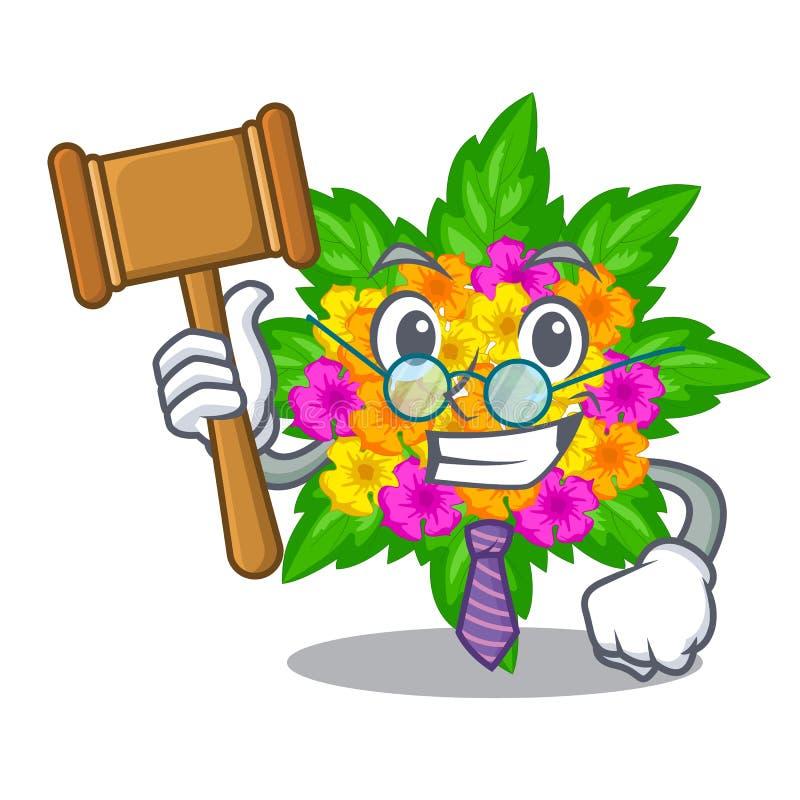 Fleurs de lantana de juge d'isolement avec le caractère illustration stock