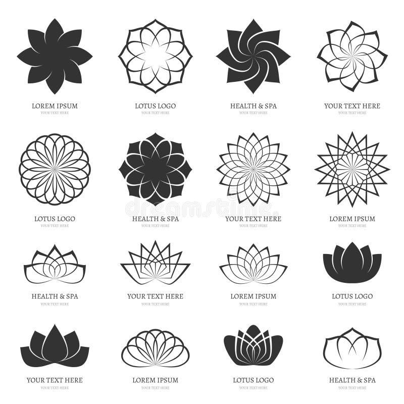 Fleurs de lotus abstraites de vecteur pour la station thermale, classe de yoga illustration de vecteur