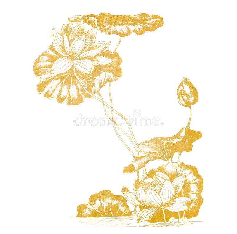 Fleurs de lotus dans le type de nouveau d'art du vieux papier illustration libre de droits