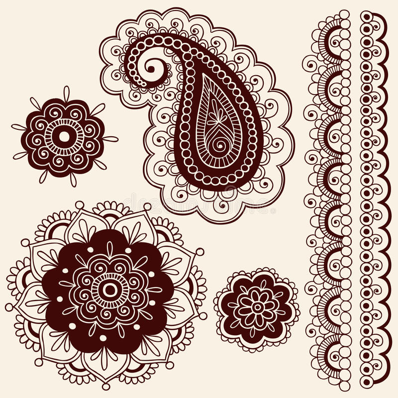 Fleurs de Mehndi de henné et vecteur de Paisley illustration de vecteur