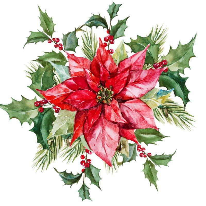 Fleurs de Noël d'aquarelle illustration stock