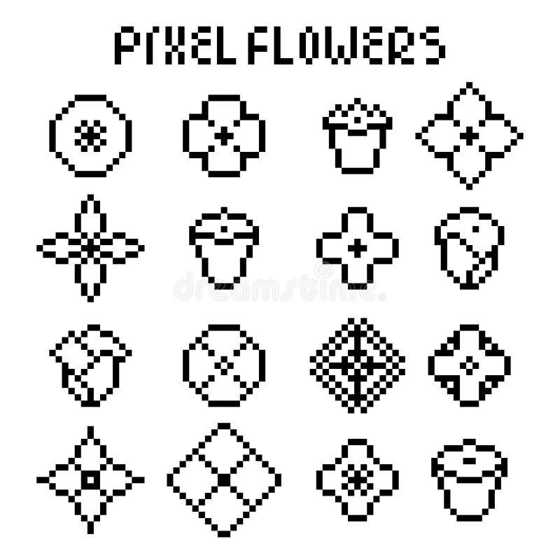 Fleurs de noir de pixel illustration libre de droits