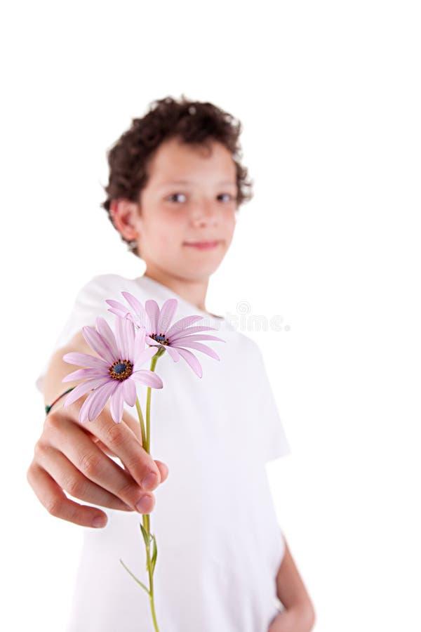 Fleurs de offre de garçon mignon photographie stock libre de droits