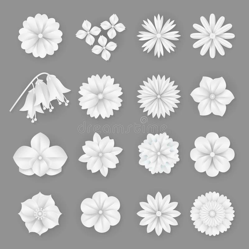 Fleurs de papier de vecteur réglées illustration abstraite d'icônes de fleur de l'origami 3d illustration libre de droits