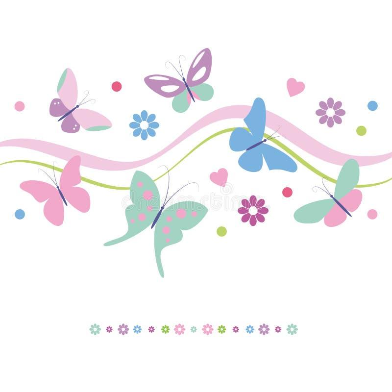 Fleurs de papillons et carte de voeux colorées de coeurs illustration stock