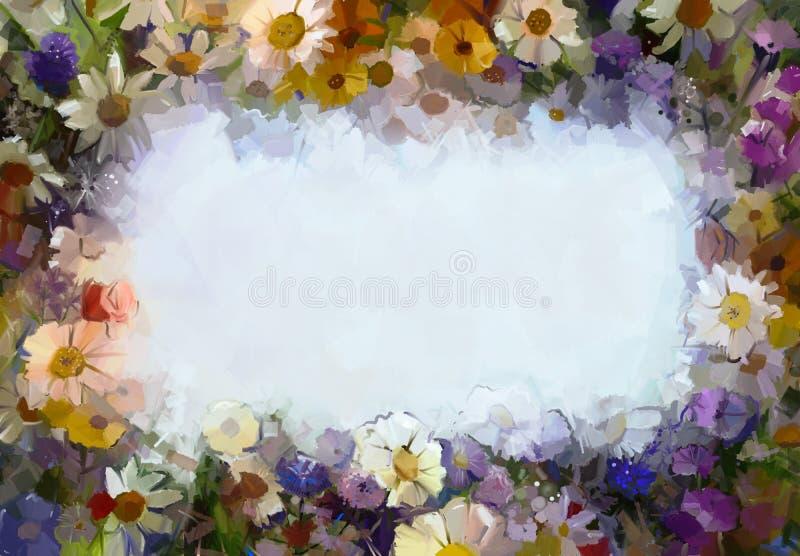 Fleurs de peinture à l'huile avec l'espace vide illustration stock