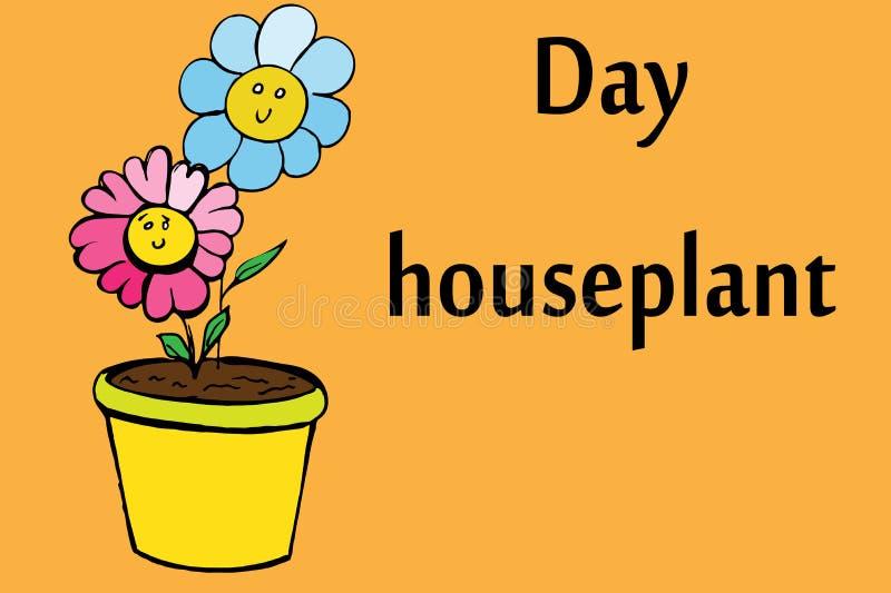 Fleurs de plante d'intérieur dans le pot illustration stock