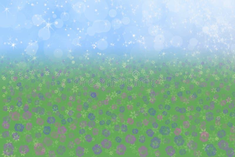 Fleurs de pré de ciel bleu de fond de source photos stock