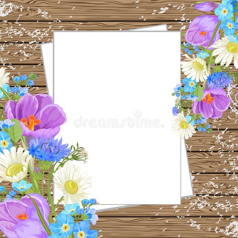 Fleurs de ressort sur un fond en bois, vue supérieure illustration libre de droits