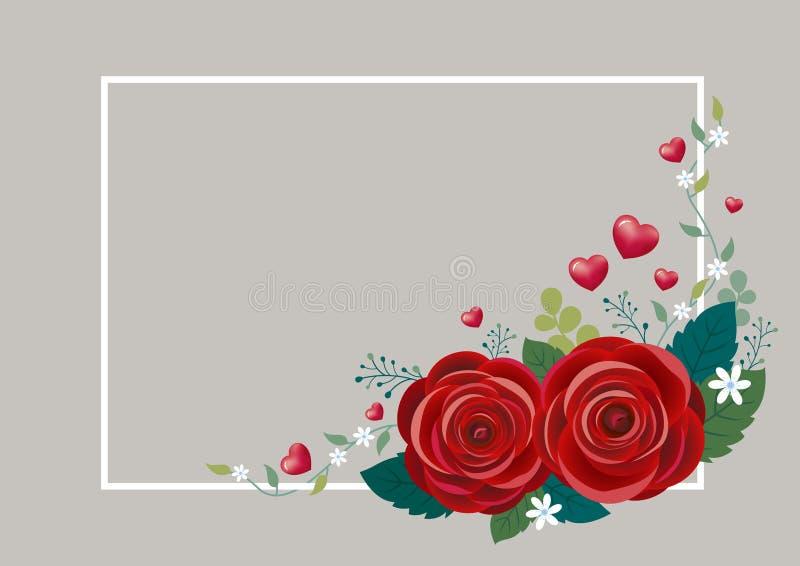 Fleurs de Rose avec des coeurs et la conception blanche de cadre illustration libre de droits