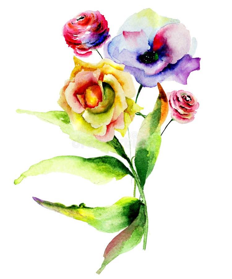 Fleurs de Rose et de pavot illustration stock