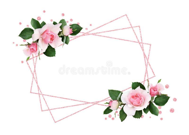 Fleurs de rose de rose et feuilles de vert dans arrangemen faisants le coin floraux illustration de vecteur