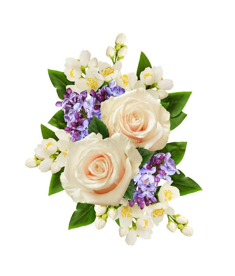 Fleurs de roses blanches, de jasmin et de lilas dans la disposition de fête photo libre de droits