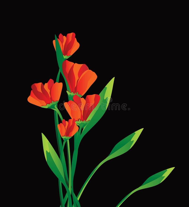 Fleurs de rouge de vecteur illustration de vecteur