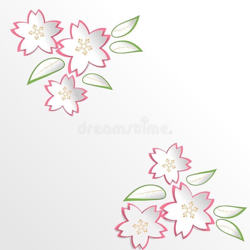 Fleurs de Sakura Cherry Blossom à l'arrière-plan de style de coupe de papier illustration libre de droits