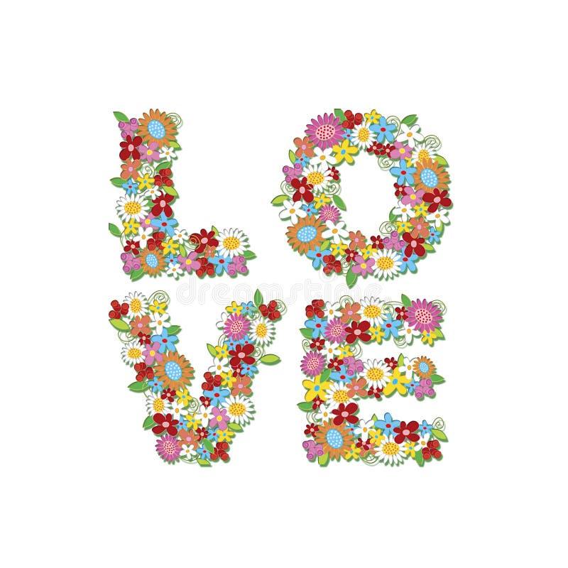Fleurs de source d'AMOUR (bloc) illustration de vecteur