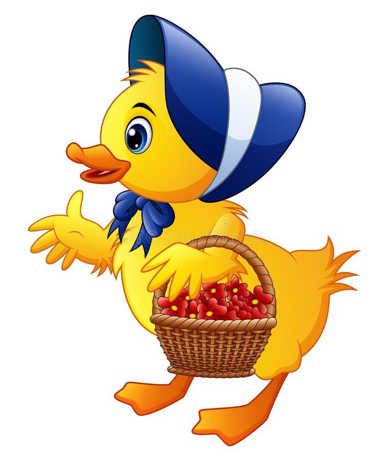 Fleurs de transport de petit canard de bande dessinée dans un panier avec porter le chapeau et le noeud papillon bleus illustration libre de droits