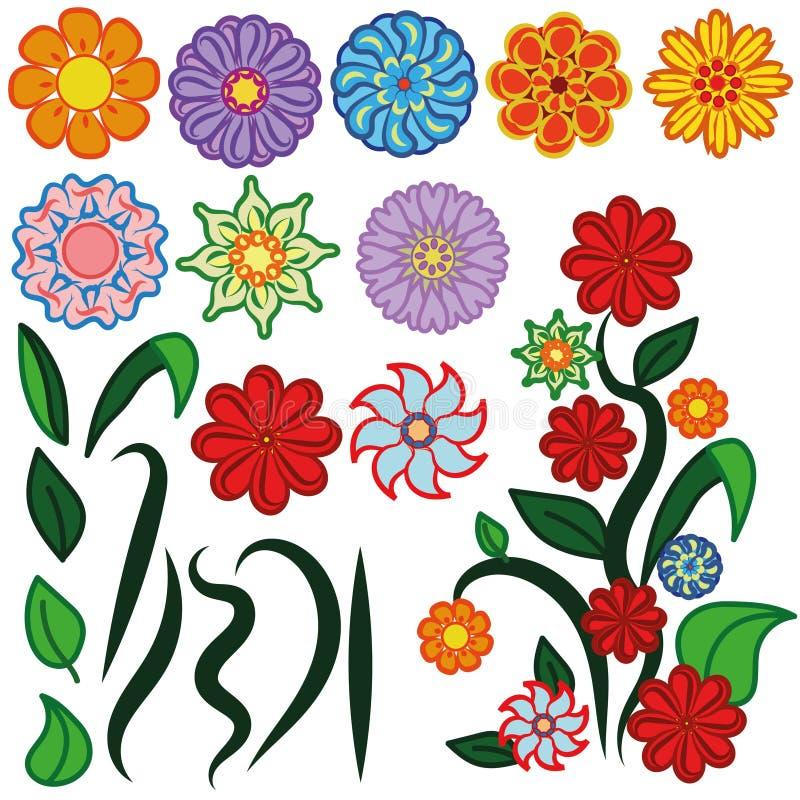 Fleurs de vecteur réglées illustration de vecteur