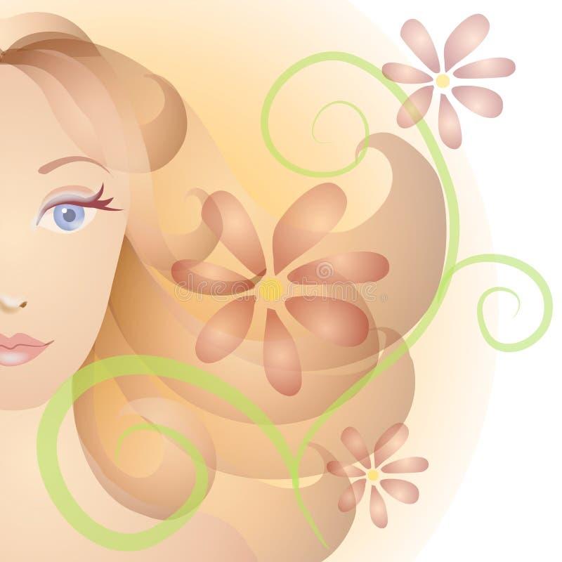 Fleurs de verticale de visage de femme   illustration de vecteur
