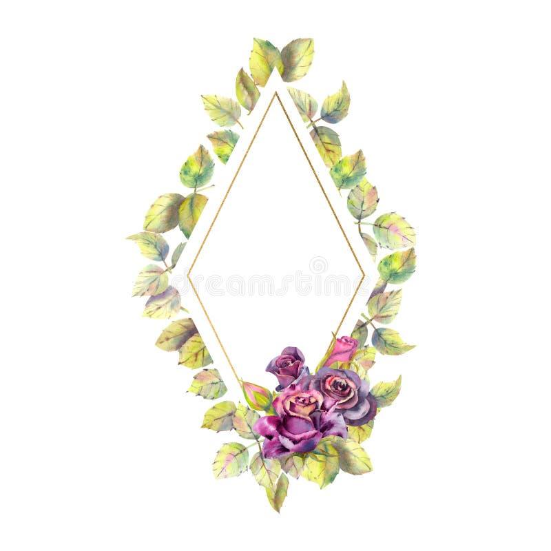 Fleurs des roses fonc?es, feuilles vertes, composition Cadre en forme de diamant sur un fond blanc Le concept du mariage illustration de vecteur