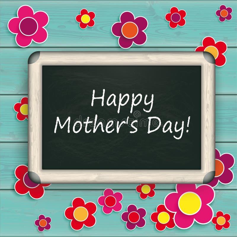 Fleurs en bois de jour de mères de turquoise de tableau noir illustration stock