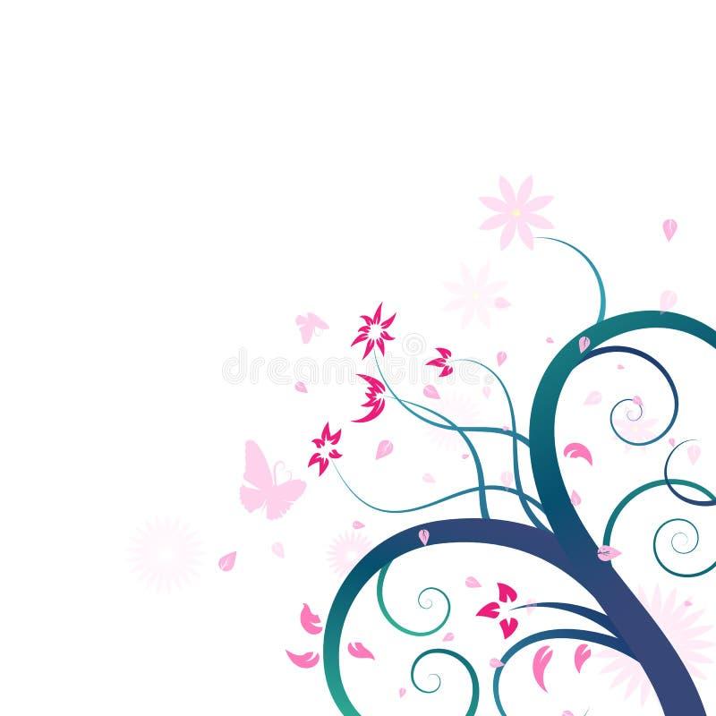 Fleurs et abst floraux et roses de conception de brosse d'art de dispersion de papillon illustration stock