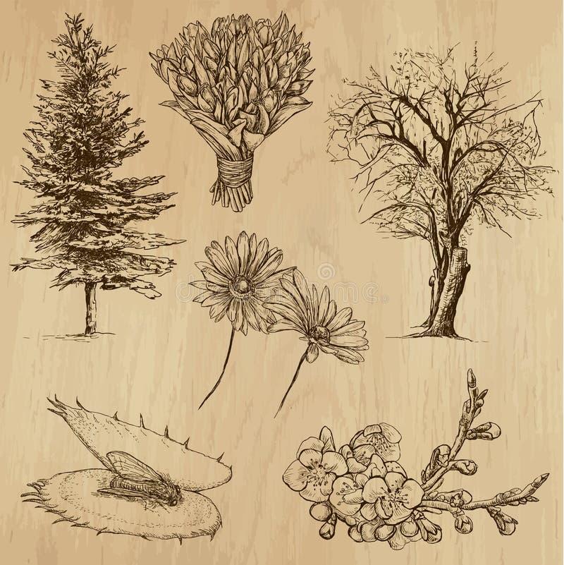 Fleurs et arbres, paquet no.4 illustration stock