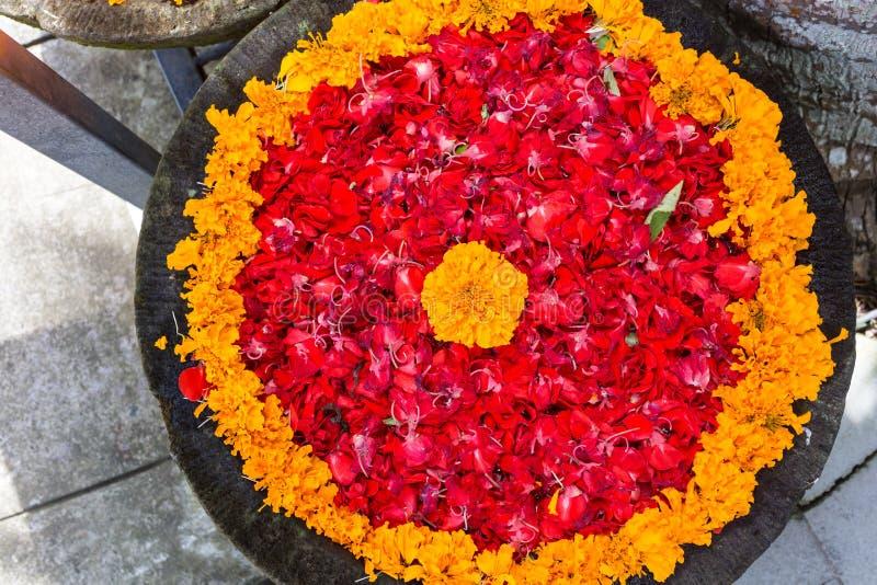 Fleurs et bougies exotiques dans la cuvette avec de l'eau image libre de droits