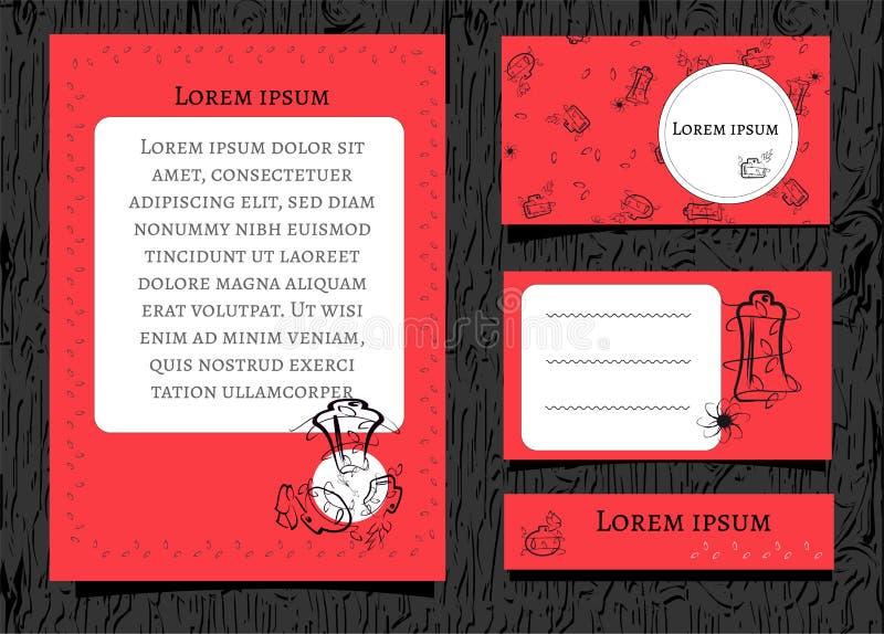 Fleurs et bouteilles noires de découpe sur un fond rouge Avec l'espace blanc pour le texte Placez des bannières pour la beauté et illustration de vecteur