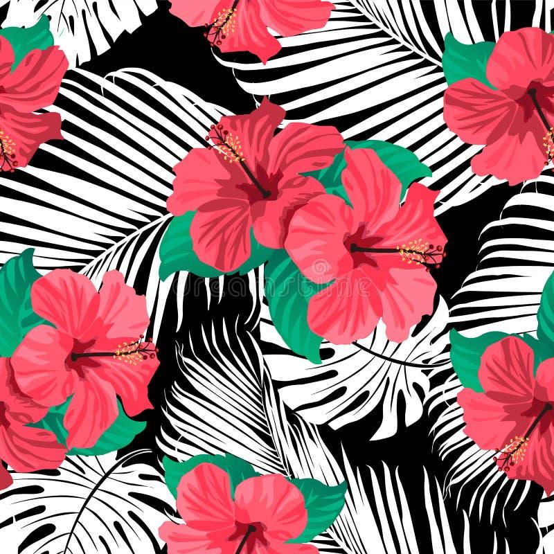 Fleurs et feuilles tropicales sur le fond illustration libre de droits