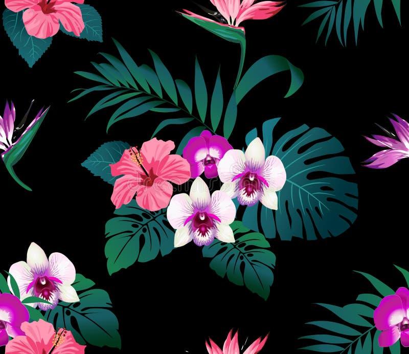 Fleurs et feuilles tropicales sur le fond noir illustration de vecteur
