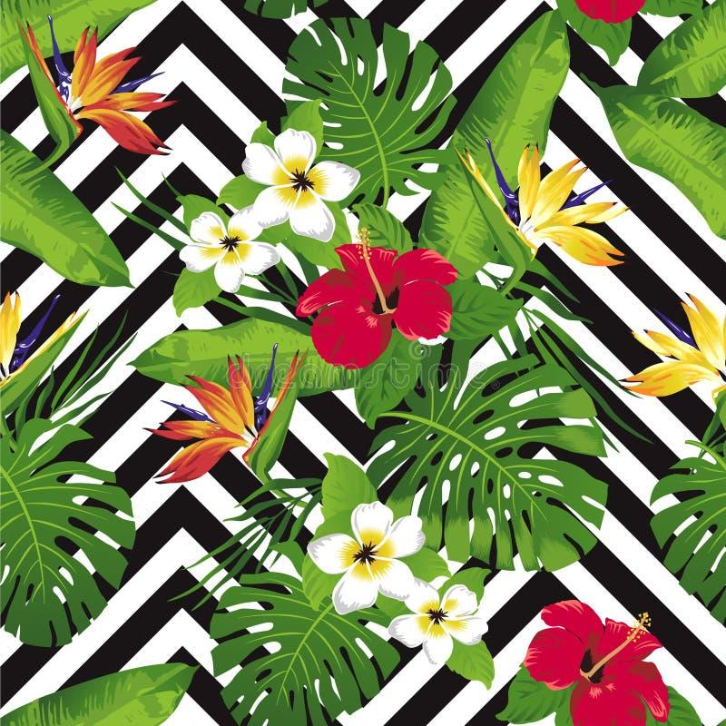 Fleurs et feuilles tropicales sur le fond seamless Vecteur illustration libre de droits