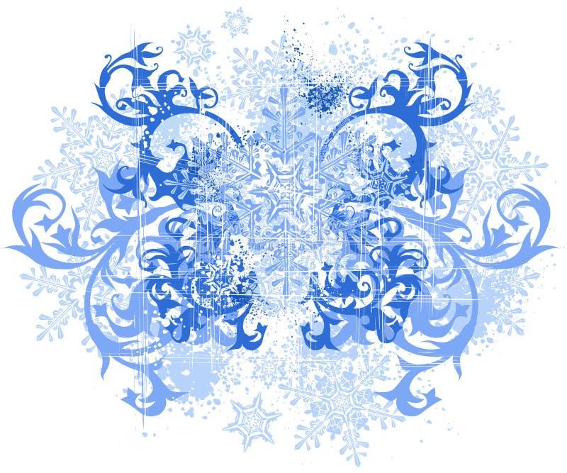 Fleurs et flocons de neige illustration de vecteur