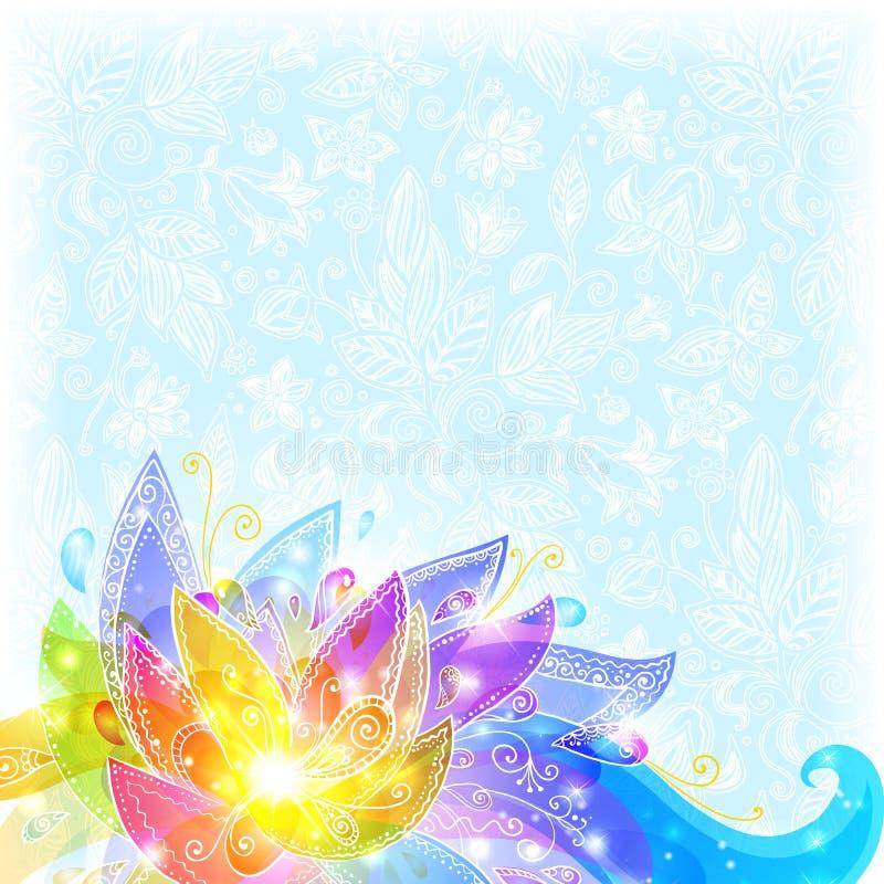 Fleurs et fond brillants de vecteur de neige illustration de vecteur