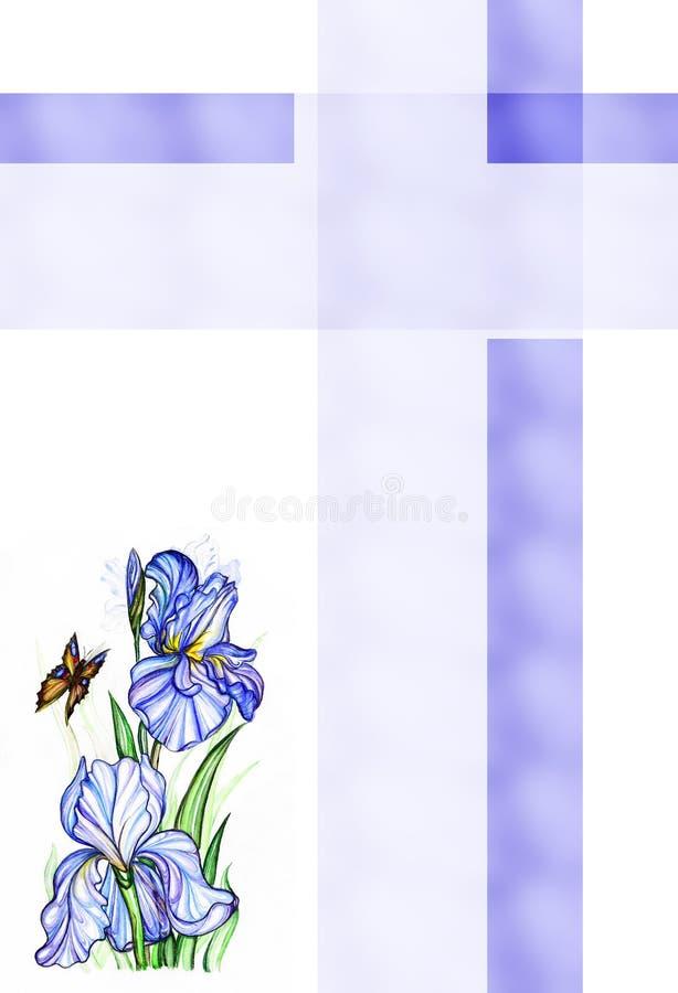 Fleurs et guindineau d'iris illustration stock