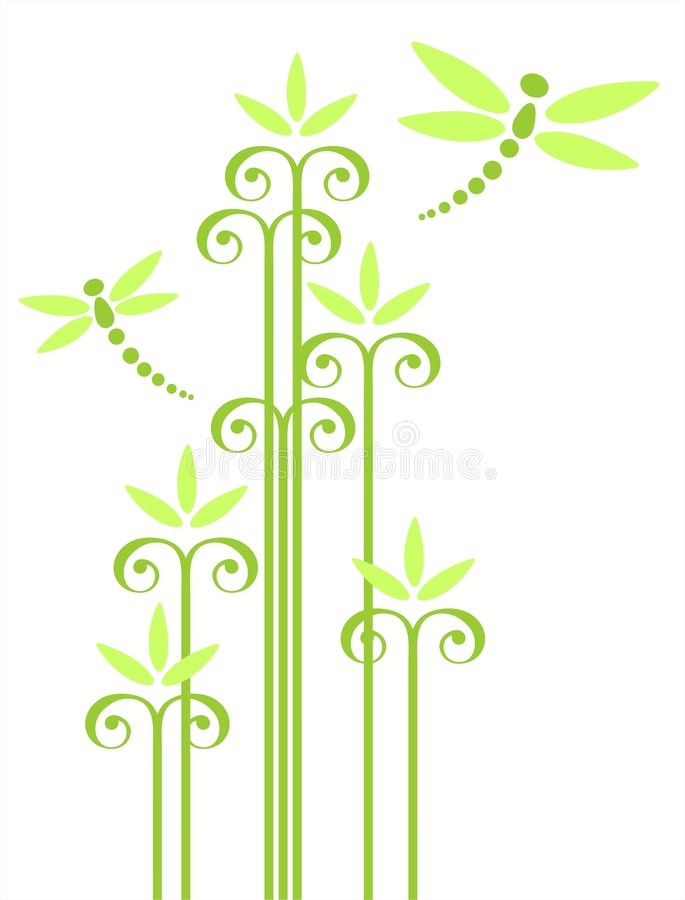 Fleurs et libellules illustration stock