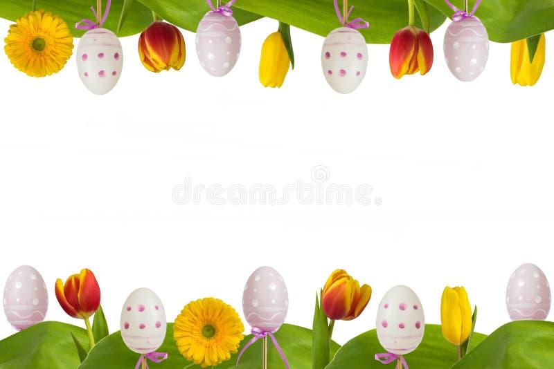 Fleurs et oeufs colorés de cadre de Pâques illustration stock