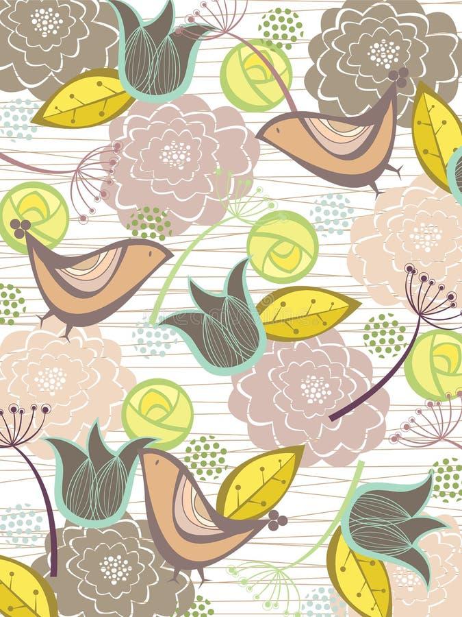 Fleurs et oiseaux lunatiques de nature illustration libre de droits